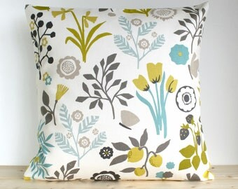 Flower Pillow Cover, Cotton Pillow Case, Floral Pillow Cover, Decorative Cushion Cover, Pillow Slip, Toss Pillow - Folk Flowers Chartreuse