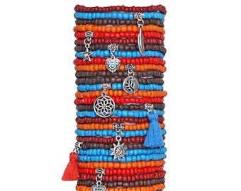 Beaded Bracelets Set of 30 Seed Bead Stretch Bracelets Bohemian Themed Stack with Charms and Tassels Southwest Theme