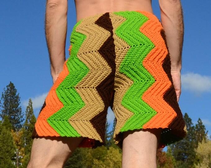 Crochet Shorts Asymmetrical Chevron Stripes