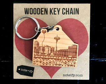 Seattle Space Needle Wooden Key Chain