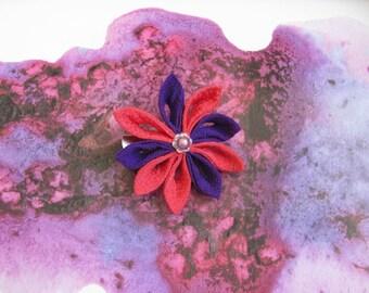 Pince à cheveux  Fleur Tsumami rose et violet foncé