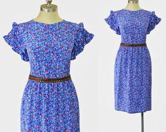 SALE - 80s Dress • Liberty Floral Silk Dress • Red Pink Cornflower Blue Floral Dress • Ruffled Sleeve Dress • 1980s Dress • Secretary Dress