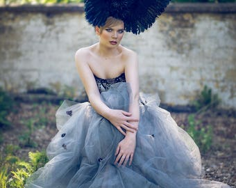 Winged Rose 'Cygnus' Large Couture Statement Headdress
