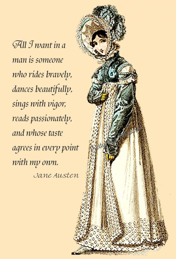 """Jane Austen Quotes. """"All I Want In A Man Is Someone Who Rides Bravely..."""" Jane Austen Card. Jane Austen Postcard. Sense and Sensibility."""