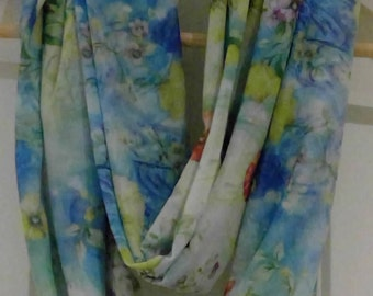 Pretty floral Infinity scarf - loop endless circle scarf - tube eternity spring summer blue