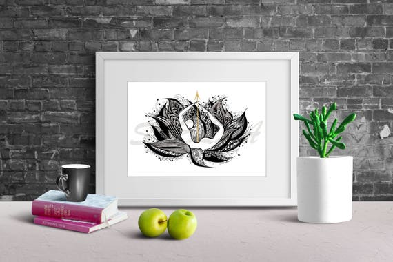 Yoga Art Zentangle BOW Pose - print from original design and drawing, yoga wall decor