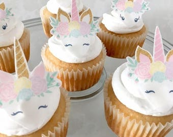 Unicorn Birthday Cake Topper | 12 Edible Unicorn Decorations | Cupcake Toppers | First Birthday | Smash Cake | 2nd Birthday | Unicorn Party