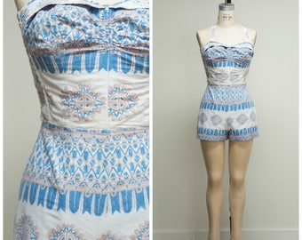 Vintage 1950s Playsuit • Sun Day Fun Day • Hawaiian Blue Tan Print Cotton 50s Romper Size Medium