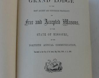 antique book, Freemasonry, Proceedings of the Grand Lodge of Missouri, 1860 1866,  from Diz Has Neat Stuff