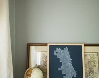CHICAGO Map. Screen Print Poster. Neighborhood Map. Modern Home Decor Print. Chicago Illinois Art Poster. Multiple Colors.