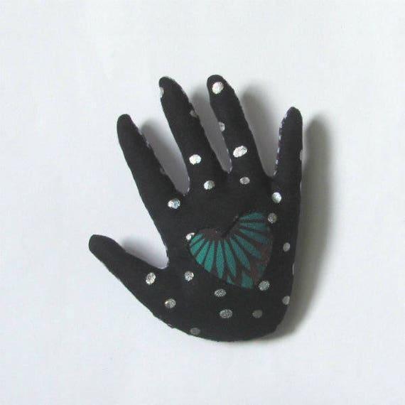 Fabric Hamsa Brooch ~ Heart in Hand Pin ~ Ready to Ship