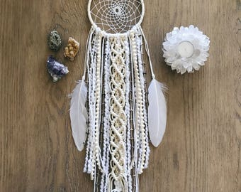 White Dream Catcher // Modern Macrame Wall Art Decor, Ivory Cream Brown, Feathers, Boho Chic Bedroom Nursery, Neutral Natural Earthy Beaded
