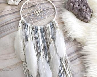 Purple & Gray Dream Catcher // Sky Blue Yarn Wall Hanging, White Feathers, Boho Home Decor, Girls or Boys Nursery Art, Baby Shower Kids Gift
