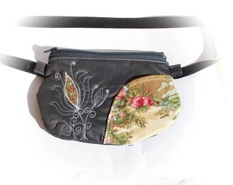 Belt bag/belt pack/hip bag/ fanny pack/ waist bag/ waist purse/woman bag/Boho bag/ Black lotus bag