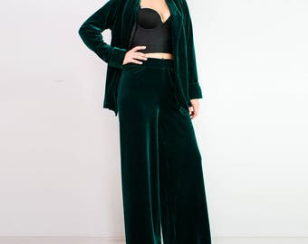 VELVET pants/ Palazzo pants/ Wide leg pants/ Emerald green trousers/ Loose pants/ Wide leg trousers/ Palazzo trousers/ wide leg pants set