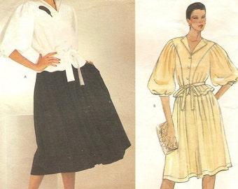 Jean Muir Vogue Full Sleeve Top & Gathered Skirt, Womens Size 12 Vintage Designer Original Sewing Pattern