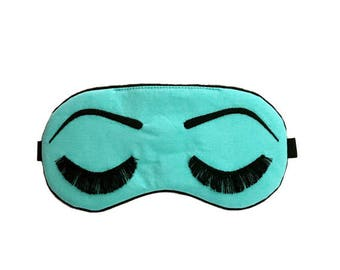 Holly Golightly sleeping mask with adjustable elastic - COTTON AQUA and BLACK