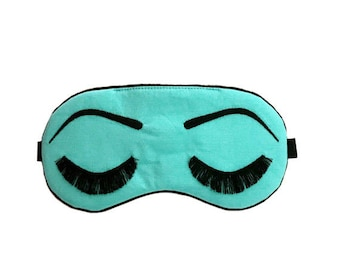 Holly Golightly sleeping mask COTTON AQUA and BLACK