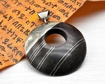 Tuareg Pendant , Amulet Pendant, Talisman Pendant , silver Pendant , Wood Pendant , ebony , African Jewelry