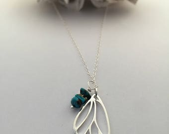 Silver Butterfly Wing Necklace/ Turquoise Butterfly Necklace/Butterfly wing jewelry/inspirational jewelry/with brave wings she flies/