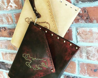 Envelope clutch, Wyoming steamboat, clutch, purse, tooled leather, Bucking horse