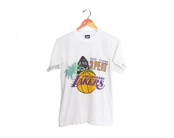 vintage t shirt / Los Angeles Lakers / vintage Lakers shirt / 1980s LA Lakers 3 Peat World Champions t shirt Small