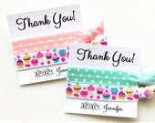 Thank You Hair Ties / Party Favors / Hair Ties / 2-ct Personalized / Wristlet Tie / Birthday / Party