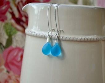 Aqua Blue Earrings, Blue Teardrop Earrings, Sky Blue Earrings Blue Glass Jewelry, Ocean Blue Dangle Earrings, Leverback Earrings, Gift Women