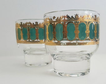 Vintage Culver Emerald Scroll Sherry Glass / Set of 2 / Vintage Drinkware / 22kt Gold Filigree / Footed Glasses