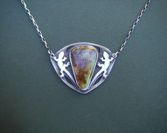 Royston turquoise lizard necklace
