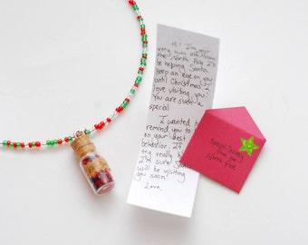 Elf Dust necklace & Letter from Santa's Elf gift set
