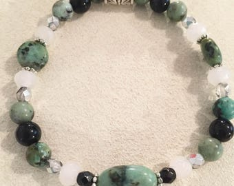 African Turquoise Puff Oval Gemstone Bracelet with Faceted Jade, Black Onyx & Round African Turquoise and Sparkly Czech Beads.