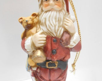 Vintage Deluxe Christmas Decoration (10) Ceramic Santa Claus Made In Taiwan