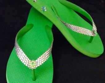 Green Custom Crystal Flip Flops Good Luck Dragonfly garden w/ Swarovski Rhinestone Jewels sandals 1.5 Wedge Heel Thong Beach Bling Shoes