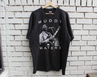 "Vintage McKinley ""MUDDY WATERS"" Morganfield Shirt Size XL X-Large Live Tribute Concert Made in U.S.A. Blues Rock Guitar"