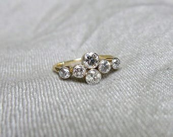 Edwardian Mine Diamond and 18k Gold Ring - Over 1 Carat of Diamonds