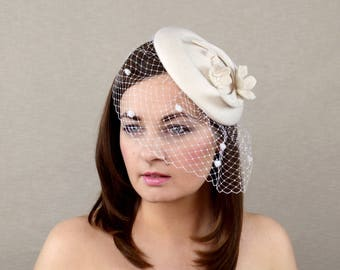 Ivory Pillbox Hat with Birdcage Veil - Wedding Headpiece - Bridal Hat - Veil Fascinator - Mother of the Bride Hat - Bridal Fascinator -