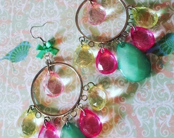 Mint, Pink, Yellow Crystal Chandelier Earrings