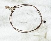 Cord Bracelet-Black Stone...