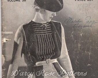 Vintage 1930s Knitting and Crochet Patterns Minerva Style Book Volume 38