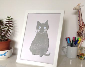 Cute Grey Cat Art Poster Print | White Recycled Card | House | Design | Wall Decor | Dorm Room Decor