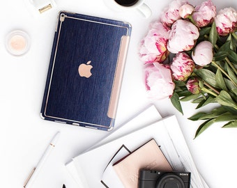 """Platinum Edition Brushed Blue with Rose Gold Detailing Hybrid Smart Cover Hard Case for the iPad Air 2, iPad mini 4 , iPad Pro, iPad 9.7"""""""
