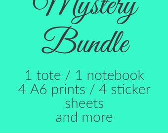 Deluxe Bookish Stationery Mystery Bundle: 1 Tote Bag, 1 Notebook, 4 Prints, 4 Sticker Sheets & More