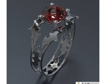 Batman Engagement Ring White Gold