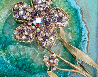 Vintage Flower Purple Pink Rhinestone Gold Brooch Pin
