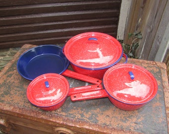 Blue & Red Enamelware Pots and Skillet.  7 Pieces of Spatterware. Picnicware. Camping. Wonderful Condition! Red with White Speckles.