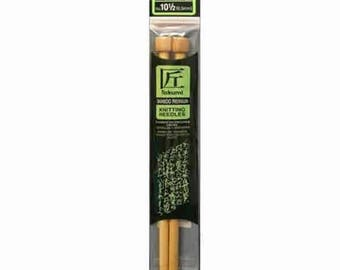 "Size 10.5 Straight Knitting Needles -  9"" Clover Takumi Bamboo Straights - 6.5 mm - Aran and Bulky Yarns - New"