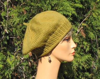 Moss Green Slouchy Beret - Thick Warm Yellow Green Cap - Slouchy Green Wool Tam - Moss Green Beret - Slouchy Wool Hat - Thick Warm Wool Hat