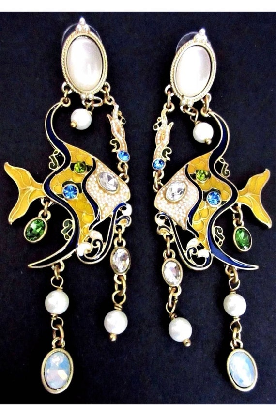 Chandelier Dangles Oscar De LA Renta Enamel Moonstone & Crystal AngelFish tropical Themed Runway Earrings