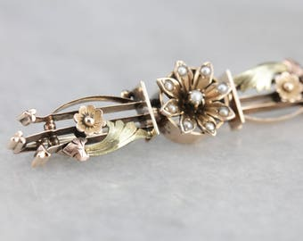 Antique Floral Seed Pearl Gold Bar Pin, Victorian Brooch AFXNHF-P